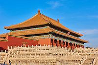 Chine, Pékin (Beijing), Cité Interdite, classée Patrimoine Mondial de l'UNESCO, Pavillon de l'Harmonie Supreme // China, Beijing, Forbidden City, Supreme Harmony Hall