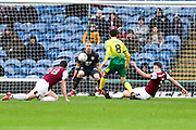 Burnley defender James Tarkowski (5) slide tackle Norwich City midfielder Mario Vrančić (8)  during the The FA Cup match between Burnley and Norwich City at Turf Moor, Burnley, England on 25 January 2020.