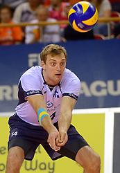 20150613 NED: World League Nederland - Finland, Almere<br /> De Nederlandse volleyballers hebben hun vierde zege in vijf World League-duels geboekt. Zes dagen na de pijnlijke 0-3 tegen België, werd in Almere Finland met 3-0 (25-20, 25-14, 25-18) verslagen / Konstantin Shumov #14