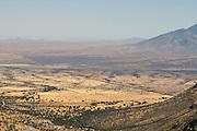 The U.S. and Mexico border seen from Montezuma's Pass, Coronado Memorial, Coronado National Forest, Sierra Vista, Arizona, USA.