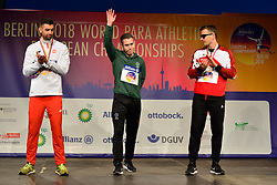 Medalists in the T13 200m from left to right Mateusz Michalski, POL, Silver Medal, Jason Smyth, IRE, Gold Medal, Philipp Handler, SUI, Bronze Medal at the Berlin 2018 World Para Athletics European Championships