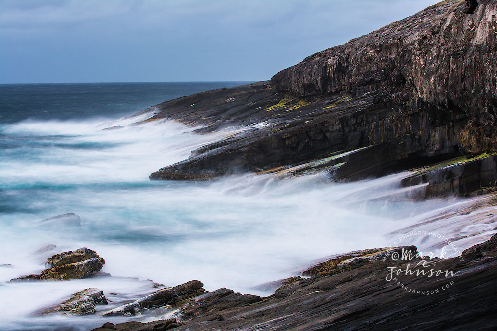 Surf breaking against the rocky coast of Cape du Couedic, Flinders Chase National Park, Kangaroo Island, South Australia