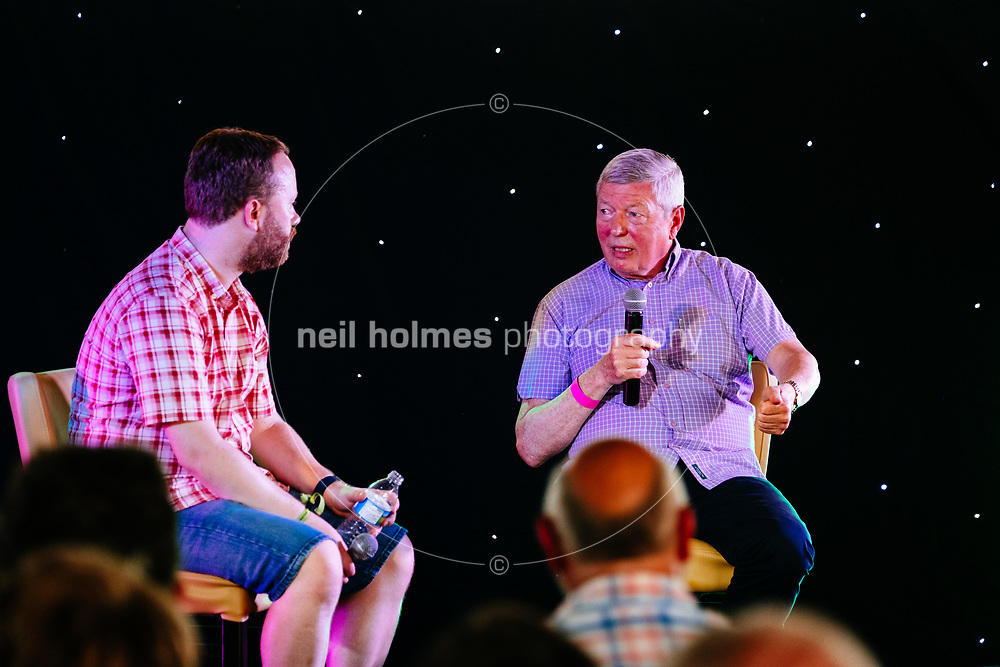 Beverley Racecourse, Beverley, East Yorkshire, United Kingdom, 18 June, 2017. Pictured: Former MP Alan Johnson in conversation with James Hogarth