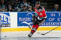 KELOWNA, CANADA - DECEMBER 7: Devante Stephens #21 of the Kelowna Rockets skates against the Seattle Thunderbirds on December 7, 2016 at Prospera Place in Kelowna, British Columbia, Canada.  (Photo by Marissa Baecker/Shoot the Breeze)  *** Local Caption ***