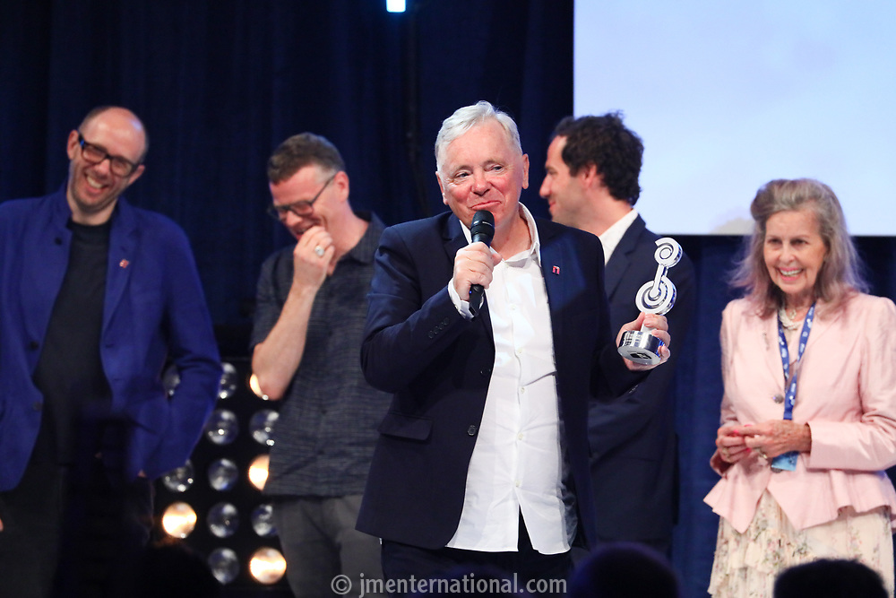 Bernard Sumner accepts his award during the O2 Silver Clef Awards 2019, Grosvenor House, London, UK, Friday 05 July 2019<br /> Photo JM Enternational