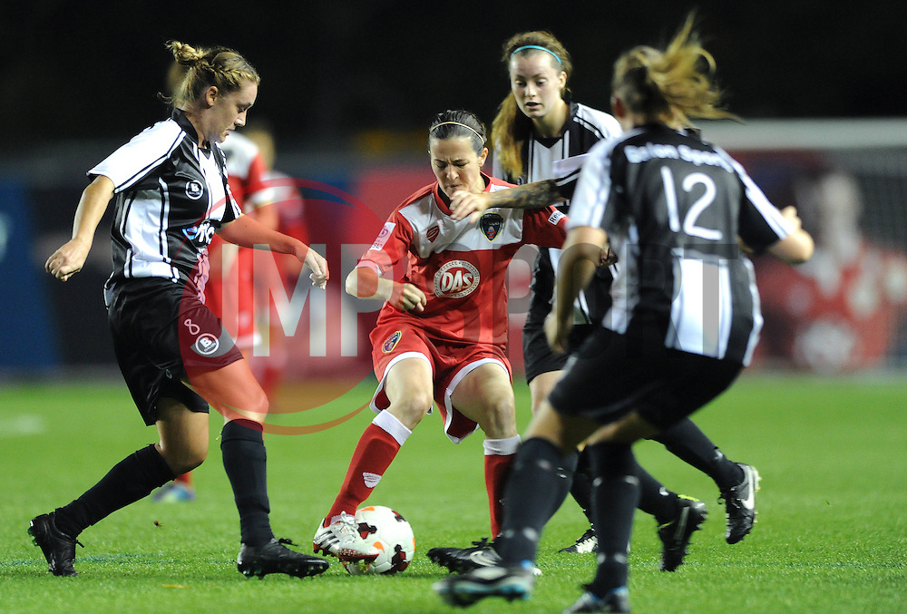 Bristol Academy Womens' Natalia Pablos Sanchon finds herself surrounded by Raheny players - Photo mandatory by-line: Dougie Allward/JMP - Mobile: 07966 386802 - 16/10/2014 - SPORT - Football - Bristol - Ashton Gate - Bristol Academy v Raheny United - Women's Champions League