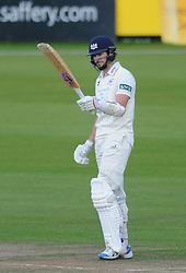 James Fuller of Gloucestershire celebrates scoring a half-century - Mandatory byline: Dougie Allward/JMP - 07966386802 - 24/09/2015 - Cricket - County Ground -Bristol,England - Gloucestershire CCC v Glamorgan CCC - LV=County Championship - Division Two - Day Three