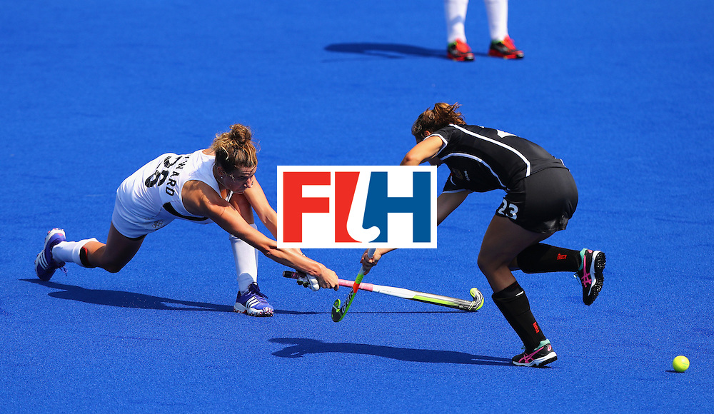 RIO DE JANEIRO, BRAZIL - AUGUST 19:  Pippa Hayward #26 of New Zealand in action against Marie Mavers #23 of Germany during the Women's Bronze Medal Match on Day 14 of the Rio 2016 Olympic Games at the Olympic Hockey Centre on August 19, 2016 in Rio de Janeiro, Brazil.  (Photo by Tom Pennington/Getty Images)