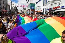 © Licensed to London News Pictures. 05/08/2017. Brighton, UK. Thousands of members of the LGBT community march through Brighton as part of the 2017 edition of Brighton Pride. Photo credit: Hugo Michiels/LNP