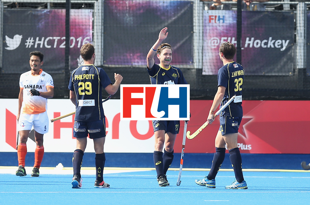 LONDON, ENGLAND - JUNE 16:  Flynn Ogilvie of Australia celebrates after scoring their third goal during the FIH Mens Hero Hockey Champions Trophy match between Australia and India at Queen Elizabeth Olympic Park on June 16, 2016 in London, England.  (Photo by Alex Morton/Getty Images)