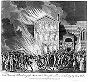 Anti-Catholic Gordon Riots, London. Mob setting fire to Newgate Prison and freeing prisoners, 6-7 June 1780. Copperplate engraving published 1 July 1780.