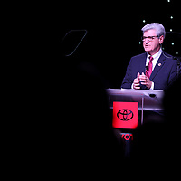 Phil Bryant, Mississippi Governor, speaks during the Off Line Ceremony for the 12th generation 2020 Toyota Corolla at the Blue Springs plant Monday morning.