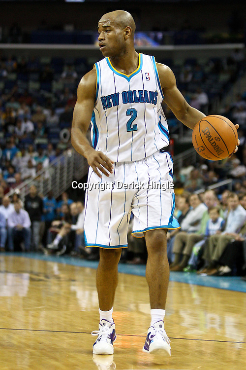 April 6, 2011; New Orleans, LA, USA; New Orleans Hornets point guard Jarrett Jack (2) against the Houston Rockets during the first half at the New Orleans Arena.   Mandatory Credit: Derick E. Hingle-US PRESSWIRE
