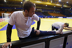 Uros Zorman and Sebastian Skube of Slovenia during practice session of Slovenia National Handball team during Main Round of 10th EHF European Handball Championship Serbia 2012, on January 21, 2012 in Spens Sports Center, Novi Sad, Serbia. (Photo By Vid Ponikvar / Sportida.com)