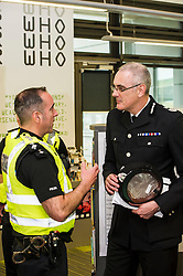 Pictured: Chief Constable Phil Gormley chatted to Chief Inspector Kevin McLean<br /> Police Scotland Chief Constable Phil Gormley unveiled details of the 'Your View Counts' exercise, which will help shape policing priorities throughout the country in Edinburgh today. <br /> Ger Harley | EEm 7 April 2016
