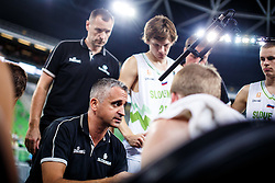 Slovenian head coach Igor Kokoskov with players of Slovenia, Jaka Klobucar, Klemen Prepelic during qualifying match between Slovenia and Kosovo for European basketball championship 2017,  Arena Stozice, Ljubljana on 31th August, Slovenia. Photo by Grega Valancic / Sportida
