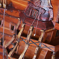 Details of a model ship are pictured at the home of Michael Demonte in Leland. (Jason A. Frizzelle)