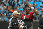 Carolina Panthers quarterback Cam Newton (1) waving to the fans during Fan Fest at Bank of America Stadium, Friday, Aug. 2, 2019, in Charlotte, NC. (Brian Villanueva/Image of Sport)