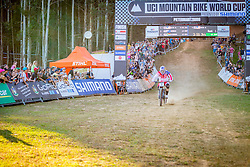 Aaron Gwin beats Mick Hannah's time by 2 seconds during the 2014 UCI Mountainbike World Cup at Pietermaritzburg, South Africa.