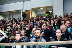 Spectators during Ice Hockey match between HK SZ Olimpija and HC Pustertal Wolfe in 6th Final game of Alps Hockey League 2018/19, on April 19th, 2019, in Hala Tivoli, Ljubljana, Slovenia. Photo by Grega Valancic