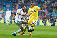 Real Madrid Daniel Carvajal and Villarreal Denis Cheryshev during La Liga match between Real Madrid and Villarreal CF at Santiago Bernabeu in Madrid, Spain. January 13, 2018. (ALTERPHOTOS/Borja B.Hojas)