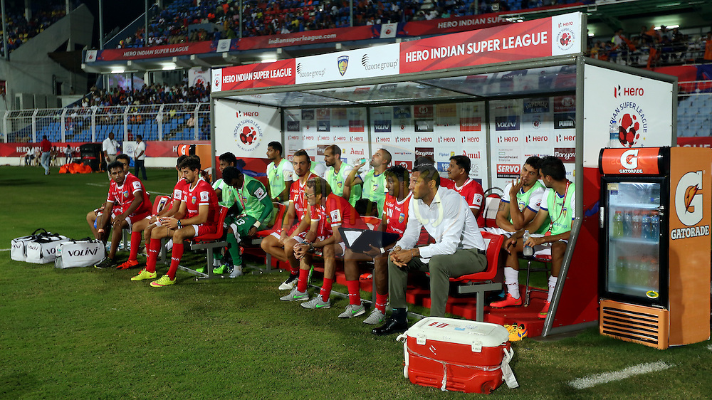 Chennaiyin FC team in dugout beofre the start of the match 9 of the Indian Super League (ISL) season 2  between FC Goa and Chennaiyin FC held at the Jawaharlal Nehru Stadium, Fatorda, Goa, India on the 11th October 2015.<br /> <br /> Photo by Sandeep Shetty / ISL/ SPORTZPICS