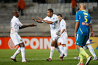 FOOTBALL - FRENCH LEAGUE CUP 2011/2012 - 1/8 FINAL - OLYMPIQUE MARSEILLE v RC LENS - 25/10/2011 - PHOTO PHILIPPE LAURENSON / DPPI - JOY AFTER GOAL LOIC REMY (OM)