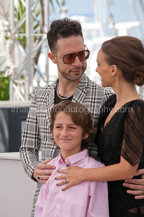 Actors Gilad Kahana and Amir Tessler with Director Natalie Portman at the A Tale Of Love And Darkness  film photo call at the 68th Cannes Film Festival Sunday May 17th 2015, Cannes, France.