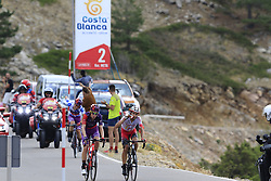 The breakaway featuring Jetse Bol (NED), Polka Dot Jersey Angel Madrazo Ruiz (Spa) Burgos-BH and Jesus Herrada (ESP) Cofidis still in the lead on the final Cat 1 climb up to Observatorio Astrofisico de Javalambre during Stage 5 of La Vuelta 2019 running 170.7km from L'Eliana to Observatorio Astrofisico de Javalambre, Spain. 28th August 2019.<br /> Picture: Eoin Clarke | Cyclefile<br /> <br /> All photos usage must carry mandatory copyright credit (© Cyclefile | Eoin Clarke)