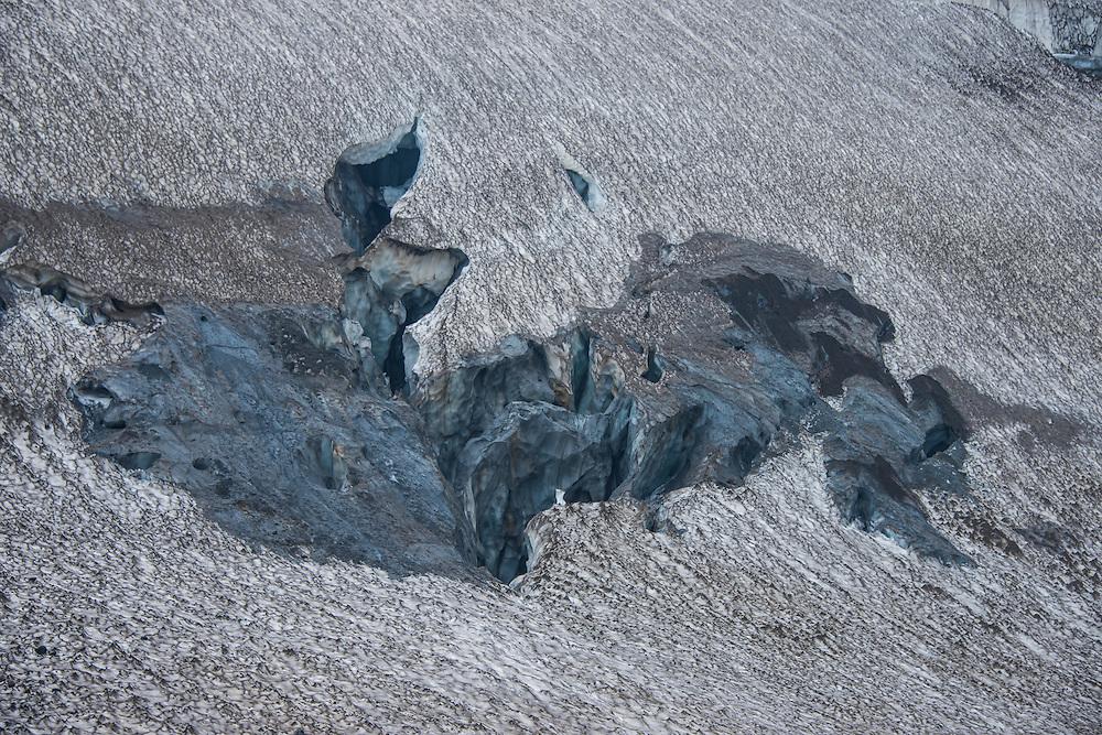 Glacier crack in a glacier field on Mutnovsky volcano, Kamchatka, Russia