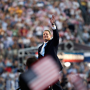 Former Vice President Al Gore addresses the crowd on the fourth day of the Democratic National Committee (DNC) Convention at Invesco Field in Denver, Colorado (CO), Thursday, Aug. 28, 2008.  ..Photo by Khue Bui