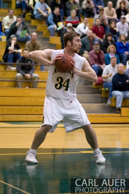 1/6/2006: Junior forward Carl Arts (34) of the UAA Seawolves grabs a rebound as Anchorage goes on to beat the visiting Central Washington Wildcats, 80-60 at the Wells Fargo Sports Complex on the campus of UAA.<br />