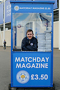 Leicester City programme seller during the Barclays Premier League match between Leicester City and West Ham United at the King Power Stadium, Leicester, England on 17 April 2016. Photo by Simon Davies.