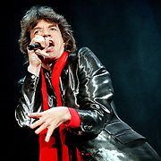 "Mick Jagger performs at the Seattle Kingdome on the ""Bridges to Babylon Tour"" in Seattle, Washington."