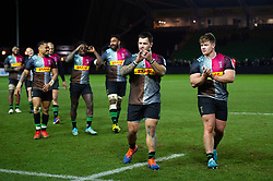 Simon Kerrod and Nick Auterac of Harlequins acknowledge the crowd after the match - Mandatory byline: Patrick Khachfe/JMP - 07966 386802 - 01/12/2019 - RUGBY UNION - The Twickenham Stoop - London, England - Harlequins v Gloucester Rugby - Gallagher Premiership