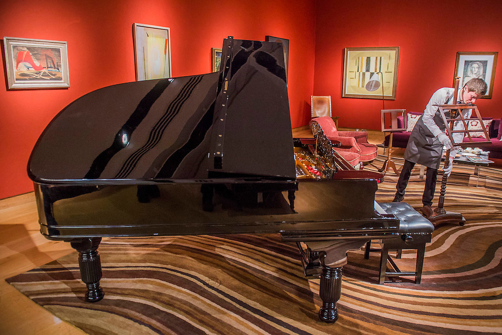 Sting's Steinway Grand Piano on a Paul Smith swirl carpet - Christie'sl pre-sale exhibition of Queen Anne's Gate: Works from the Art Collection of Sting & Trudie Styler, opening to the public on Thursday 18th until Tuesday 23rd February. Built up over the past 20 years, over 150 lots will be offered from the collection. Alongside highlights by Henri Matisse, Pablo Picasso, Robert Mapplethorpe and Ben Nicholson, the collection includes Sting's Steinway Grand Piano, which occupied pride of place in the music room at Queen Anne's Gate.