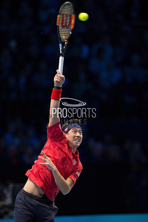 Kei Nishikori of Japan serves during day six of the Barclays ATP World Tour Finals at the O2 Arena, London, United Kingdom on 18 November 2016. Photo by Martin Cole.