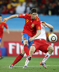 Fernando TORRES shoots during the 2010 FIFA World Cup South Africa Group H match between Spain and Switzerland at Durban Stadium on June 16, 2010 in Durban, South Africa.