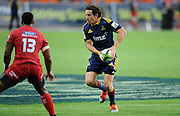 Marty Banks in action for the highlanders. Investec Super Rugby - Highlanders v Reds 27 February 2015, Forsyth Barr Stadium, Dunedin, New Zealand. Photo: New Zealand. Photo: Richard Hood/www.photosport.co.nz
