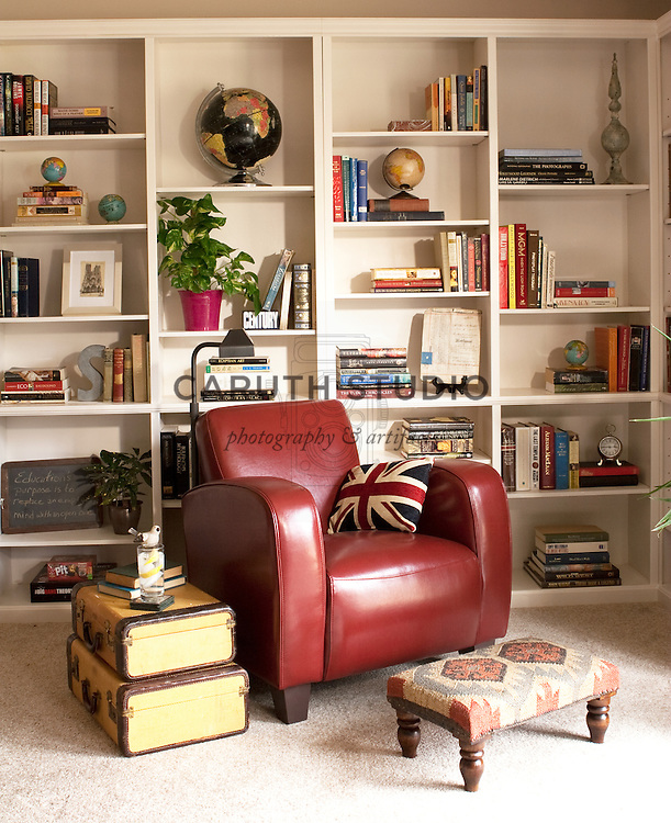 Library corner in living room