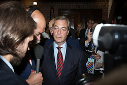 © Licensed to London News Pictures . 05/06/2014 . Newark , Nottinghamshire , UK . Nigel Farage of UKIP arrives . The count for the Newark by-election at Kelham Hall , Newark , this evening (Thursday 5th June 2014) . Photo credit : Joel Goodman/LNP