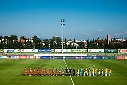 Players prior to the football match between NK Bravo and NK Aluminij in 5th Round of Prva liga Telekom Slovenije 2019/20, on August 9, 2019 in Sports park ZAK, Ljubljana, Slovenia. Photo by Vid Ponikvar / Sportida