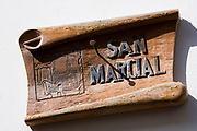 San Marcial street sign for Calle San Marcial in Laredo, Cantabria, Spain