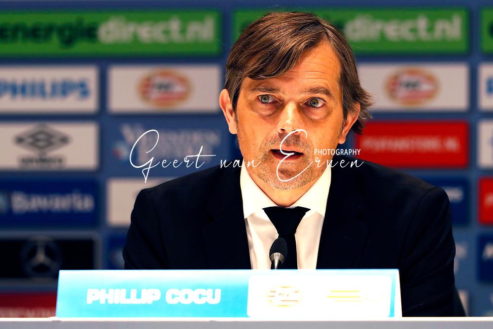 09-04-2017 VOETBAL:PSV-WILLEM II:EINDHOVEN<br /> Trainer/Coach Philip Cocu van PSV tijdens de persconferentie <br /> <br /> Foto: Geert van Erven
