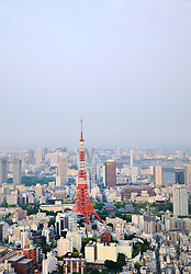 View of Tokyo Tower and cityscape of downtown Tokyo in Japan