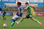 Bastien Hery and Jake Reeves of AFC Wimbledon during the Sky Bet League 2 match between Carlisle United and AFC Wimbledon at Brunton Park, Carlisle, England on 22 August 2015. Photo by Stuart Butcher.