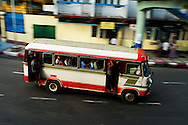 One of the old buses at Yangon downtown near Sule pagoda