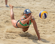 STARE JABLONKI POLAND - July 5: Barbara Hansel of Austria in action during Day 5 of the FIVB Beach Volleyball World Championships on July 5, 2013 in Stare Jablonki Poland.  (Photo by Piotr Hawalej)