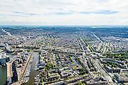Nederland, Noord-Holland, Amsterdam, 01-08-2016; westelijk deel Amsterdamse binnenstad met onder in beeld  Westerdok (links) en Westelijke Eilanden (het Bickerseiland, Prinseneiland en Realeneiland), rechtsonder Houtmankade (Westerkanaal).<br /> Midden Grachtengordel en Jordaan.<br /> Western part inner city Amsterdam, with canals and Jordan quarter.<br /> <br /> luchtfoto (toeslag op standard tarieven);<br /> aerial photo (additional fee required);<br /> copyright foto/photo Siebe Swart