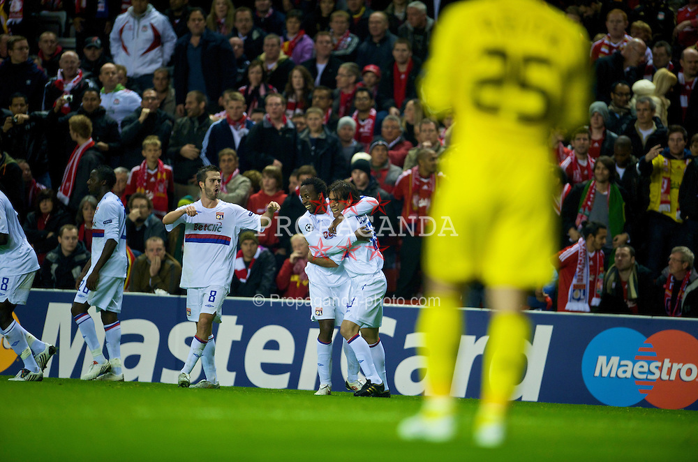 LIVERPOOL, ENGLAND - Tuesday, October 20, 2009: Olympique Lyonnais's Cesar Delgado celebrates scoring the winning goal against Liverpool during the UEFA Champions League Group E match at Anfield. (Pic by David Rawcliffe/Propaganda)